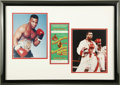 Boxing Collectibles:Autographs, Mike Tyson and Larry Holmes Signed Photograph Display with FullTicket. Though he had never been knocked out in his entire ...