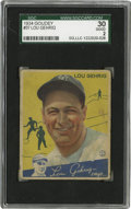 Baseball Cards:Singles (1930-1939), 1934 Goudey Lou Gehrig #37 SGC Good 30. Probably the most popular Gehrig card in the hobby, this SGC Good example still bea...