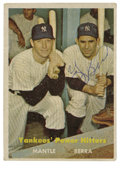 Autographs:Sports Cards, 1957 Topps Yankees' Power Hitters #407, Signed by Berra. This classic card featuring pinstripers Mantle and Berra has been ...