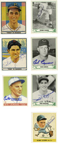 Autographs:Sports Cards, Baseball Card Reprints Signed Lot of 232, Unsigned Lot of 55.Reprints from the 1931, '34 and '38 Goudey sets as well as th...