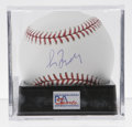 Autographs:Baseballs, Greg Maddux Single Signed Baseball, PSA Mint 9. This OML baseballhas been graced with a sweet spot signature by Greg Maddu...