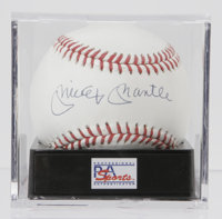 Mickey Mantle Single Signed Baseball, PSA Mint+ 9.5. The universally idolized Mantle has graced this OAL (Brown) basebal...