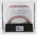 Autographs:Baseballs, Johnny Podres Single Signed Baseball, PSA Mint+ 9.5. The three-timeWS winner with the Dodgers has graced this OML ball wit...