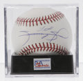 Autographs:Baseballs, Sammy Sosa Single Signed Baseball, PSA Mint+ 9.5. Modern day longball hero Sammy Sosa has applied a perfect sweet spot sig...