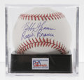 Autographs:Baseballs, Bobby Thomson and Ralph Branca Dual-Signed Baseball, PSA Mint 9. Atthe hallowed Polo Grounds in 1951 New York Giants outfi...