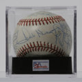 Autographs:Baseballs, 1981 Kansas City Royals Team-signed Baseball, PSA NM+ 7.5. Thirtymembers from the '81 Royals have signed this ONL (White) ...