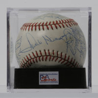 1981 Kansas City Royals Team-signed Baseball, PSA NM+ 7.5. Thirty members from the '81 Royals have signed this ONL (Whit...