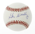 Autographs:Baseballs, Gene Woodling Single Signed Baseball. OAL (Brown) baseball offers10/10 blue ink sweet spot signature from New York Yankees ...