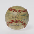 Autographs:Baseballs, Hall of Famers Baseball Signed by 28. 28 signatures occupy nearlyevery inch of this ONL (Feeney) ball, and every last one ...