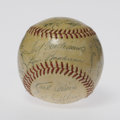 Autographs:Baseballs, 1954 Boston Red Sox Team Signed Baseball. Despite the clubhousesignatures of Williams and Boudreau, this OAL (Harridge) ba...