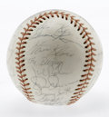 Autographs:Baseballs, 1974 Cleveland Indians Team Signed Baseball. Gamble, Carty, Perryand Frank Robinson are among the notables clocking in on ...