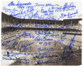 """Autographs:Photos, Brooklyn Dodgers Team-Signed Ebbets Field Photograph. On thisbeautiful 8x10"""" reproduction print of the historic Ebbets Fie..."""
