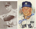Autographs:Post Cards, Mickey Mantle Signed Perez-Steele Post Card Plus Unsigned Post Card. Beautiful Perez-Steele post card from the fifth serie...