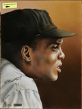 "Autographs:Others, Willie Mays Signed Artwork. Beautiful 16x20"" painted portrait of Willie Mays done by Gary Longordo and signed by Mays in per..."