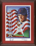 Baseball Collectibles:Others, Nolan Ryan Signed Print. From the artist Ron Lewis we offer thisNolan Ryan print, signed in 10/10 sharpie by MLB's all-tim...
