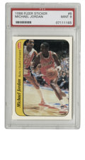 Basketball Cards:Singles (1980-Now), 1986 Fleer Sticker Michael Jordan #8 PSA Mint 9. Still riding the momentum from his dazzling debut season which earned him ...
