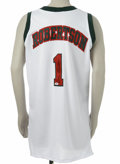 """Basketball Collectibles:Others, Oscar Robertson Signed Jersey. """"Big O"""" has signed the verso of this replica white mesh Bucks jersey in 10/10 black sharpie...."""