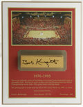 Basketball Collectibles:Others, Bob Knight Signed Assembly Hall Hardwood. From Indiana University's hallowed Assembly Hall we offer this authentic section ...