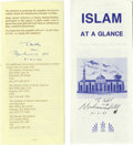 Boxing Collectibles:Memorabilia, Muhammad Ali Signed Islam Pamphlets Lot of 2 with GQ Magazine. Since his conversion to Islam, Muhammad Ali had strong views...
