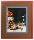 Boxing Collectibles:Autographs, Muhammad Ali Signed Photograph. Beautifully framed and matted color photograph depicts one of the most famous images of Ali...