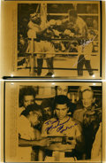 Boxing Collectibles:Autographs, 1980 Muhammad Ali and Larry Holmes Signed Wire Photograph Copies. This pair of copies of AP wire photographs chronicles the...