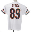Football Collectibles:Others, Mike Ditka Signed Jersey. Fine replica of his Chicago Bears white mesh gamer is signed on the rear numerals in 10/10 silver...