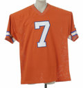 """Football Collectibles:Others, John Elway Signed Jersey. Fine replica of his """"Orange Crush"""" Denver Broncos mesh gamer is signed on the rear numerals in 10..."""