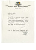 """Autographs:Others, 1948 Wilbur Shaw Signed Letter. The three-time Indianapolis 500Champion closes out a typed letter on """"Indianapolis Motor S..."""