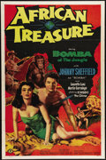 "Movie Posters:Adventure, African Treasure (Monogram, 1952). One Sheet (27"" X 41""). JohnnySheffield, who played Boy to Johnny Weissmuller's Tarzan, t..."
