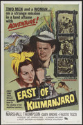 "Movie Posters:Adventure, East of Kilimanjaro (Parade Releasing, 1962). One Sheet (27"" X41""). Marshall Thompson and Gaby André star in this Italian-m..."