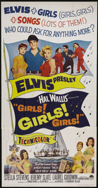 """Girls! Girls! Girls!. (Paramount, 1962). Three Sheet (41"""" X 81""""). Where there's Elvis Presley, there's girl tr..."""