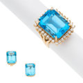 Estate Jewelry:Suites, Blue Topaz, Diamond, Gold Jewelry Suite. . ... (Total: 3 Items)