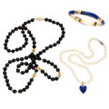 Estate Jewelry:Lots, Lapis Lazuli, Black Onyx, Cultured Pearl, Enamel, Gold Jewelry. .... (Total: 2 Items)