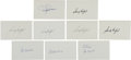 Baseball Collectibles:Others, 1970's Baseball Hall of Famers Signed Index Cards Lot of 9. ...