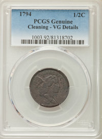1794 1/2 C -- Cleaning -- PCGS Genuine. VG Details. NGC Census: (0/0). PCGS Population: (16/356). CDN: $775 Whsle. Bid f...