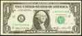 Error Notes:Ink Smears, Fr. 1913-L $1 1985 Federal Reserve Note. Extremely Fine-AboutUncirculated.. ...