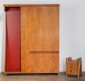 Furniture : Continental, Italian School (20th Century). Four-Piece Bedroom Suite, circa 1950. Wood, faux leather, canvas, metal. 89-1/4 x 68-1/2 ... (Total: 4 Items)