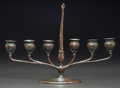 Art Glass:Tiffany , Tiffany Studios Bronze Six-Light Candelabrum. Includes originalbobeche and integrated snuffer.. Circa 1905. Stamped TIFFANY...