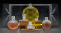 Art Glass:Lalique, Six R. Lalique and Lalique Glass Perfumes with Tray. IncludesRelief by Forvil, Chypre by Houbigant, Les IlesD'Or... (Total: 7 Items)