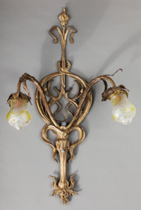 Art Nouveau Gilt Bronze and Glass Two-Light Wall Sconce Circa 1910-1920. Ht. 39-1/2 x W. 24 in