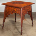Furniture , French Art Nouveau Marquetry Horse Chestnut Tree Motif Side Table attributed to Majorelle. Circa 1900-1910. Ht. ...