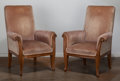 Furniture : French, Pair of Louis Majorelle Upholstered Mahogany Fauteuils. Circa1900-1910. Ht. 42-3/4 x W. 31-1/2 in.. ... (Total: 2 Items)