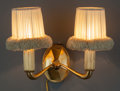 Decorative Arts, French:Lamps & Lighting, Emile-Jacques Ruhlmann Gilt Bronze Two-Light Lotus WallSconce with Shades. Circa 1930. Ht. 14 x W. 18 in.. PRO...
