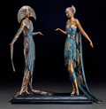 Bronze:Contemporary, Erté Cold Painted Bronze Figural Group: Two Vamps. Circa1990. Stamped (artist's cipher), 297/500, c 1990, SEVENARTS...
