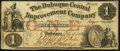 Obsoletes By State:Iowa, Dubuque, IA- Dubuque Central Improvement Company $1 Feb. 15, 1858....