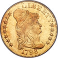 Early Half Eagles, 1798 $5 Large Eagle, Small 8, BD-6, R.6, MS61 PCGS. CAC....
