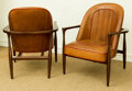 Furniture , A Set of Four Keno Brothers Mahogany and Leather Drive Armchairs, 21st century. Marks: (applied plaque) KENO B... (Total: 4 Items)