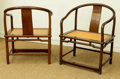 Asian:Chinese, A Pair of Chinese Hardwood Horseshoe Armchairs with Caned Seats,20th century. 33-3/4 h x 26 w x 18-1/2 d inches (85.7 x 66....(Total: 2 Items)