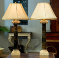 Decorative Arts, Continental, A Pair of Neoclassical-Style Carved Marble Table Lamps. 43 incheshigh (109.2 cm) . ... (Total: 2 Items)