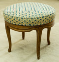 Furniture , A French Carved Wood and Upholstered Stool . 18 inches high x 20-1/2 inches diameter (45.7 x 52.1 cm). ...